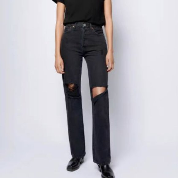 Free People High Rise Loose Fit Black Wash Jeans